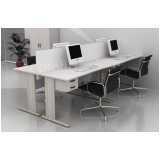 mesa para escritório com gavetas cinza preço Alphaville Comercial