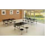 mesa para refeitório com banco acoplado Paraíso