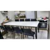 mesa para refeitório de madeira preço JARDIM LUZITANTIA