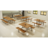 mesa para refeitório de madeira valor lausane paulista