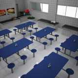 mesa para refeitório com banco acoplado